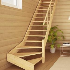 №14 Лестница с поворотом на 90 ° с простым ограждением