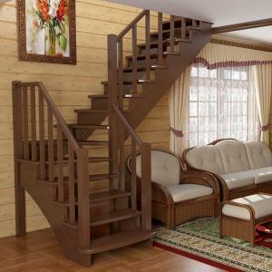 №19 Лестница с поворотом на 90 ° с классическим ограждением