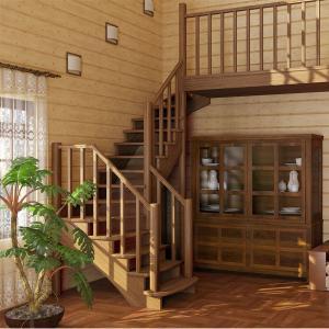 №25 Лестница с поворотом на 180 ° с простым ограждением