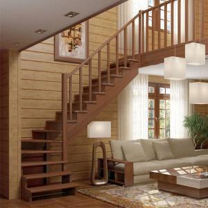 №18 Лестница с поворотом на 90 ° с классическим ограждением
