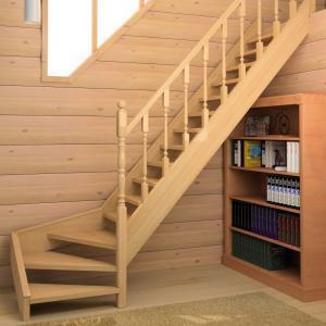 №17 Лестница с поворотом на 90 ° с классическим ограждением