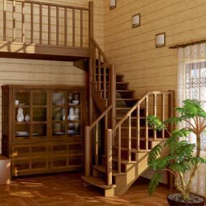 №21 Лестница с поворотом на 90 ° с классическим ограждением