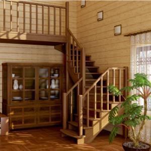 №28 Лестница с поворотом на 180 ° с классическим ограждением