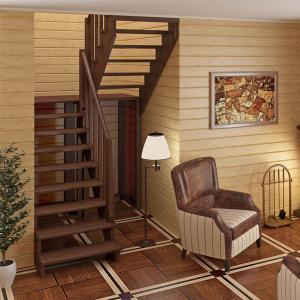 №24 Лестница с поворотом на 180 ° с простым ограждением