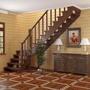№15 Лестница с поворотом на 90 ° с простым ограждением